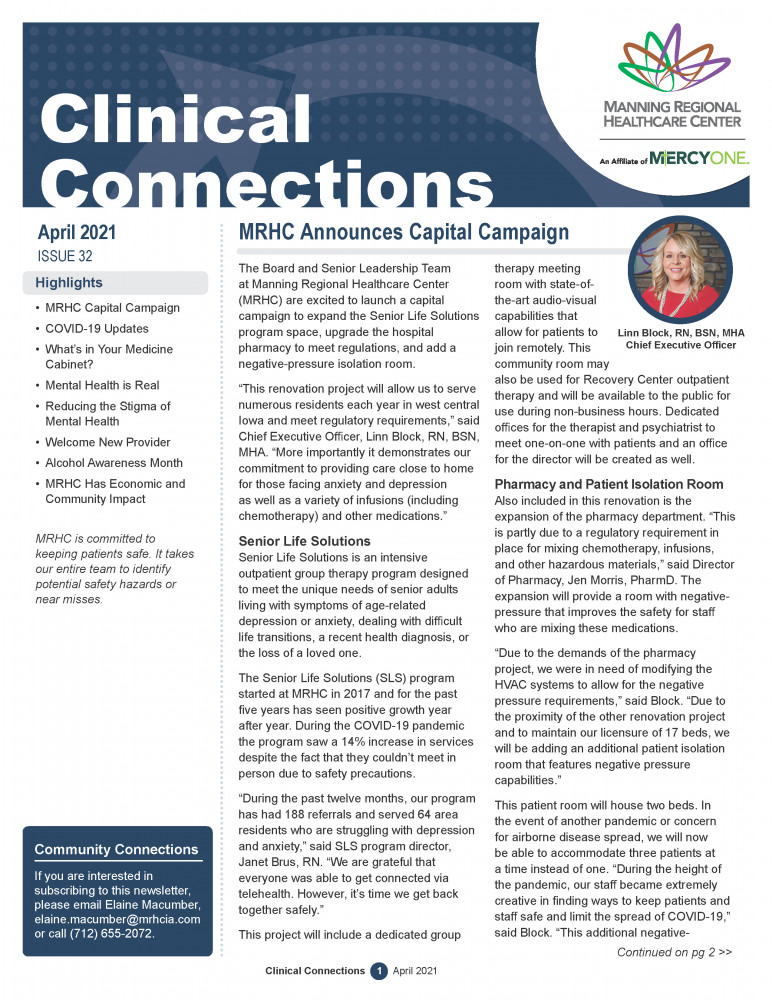 April 2021 Clinical Connections cover